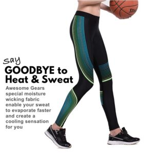 Women Compression Tights (Green Stripes)