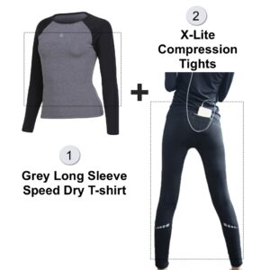 GREY Tees & Tights Set – Long Sleeve Speed Dry Tees & X-Lite Compression Tights