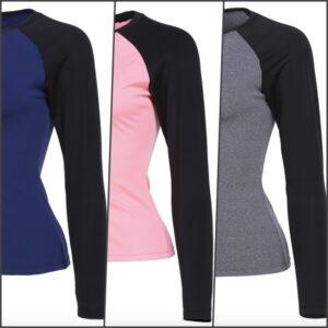 Women Long Sleeve Slim Fit T-shirt (Blue, Pink & Grey)