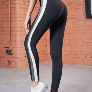The Passion Black Compression Tights with Grey Stripe
